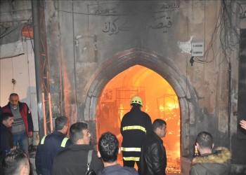 بالصور.. حريق هائل بسوق عثماني في كركوك العراقية