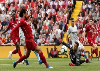 """الدوري الإنجليزي: """"صلاح"""" يفتتح رباعية ليفربول أمام وست هام"""