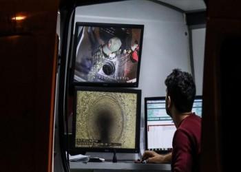 فحص شبكة الصرف الصحي بشارع القنصلية السعودية في إسطنبول