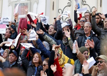 مظاهرات ضد الاتحاد العام للتعليم الثانوي في تونس