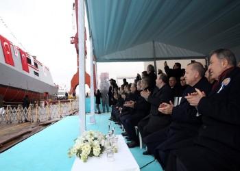 أردوغان يشهد إنزال أول سفينة استخبارية تركية الصنع
