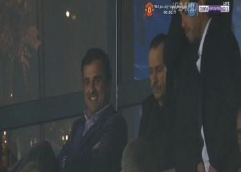 أمير قطر يظهر في مباراة سان جيرمان ومان يونايتد