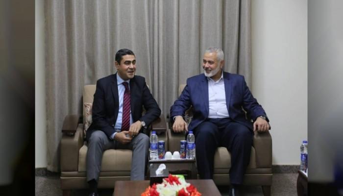 هنية يستقبل وفد المخابرات المصرية في غزة
