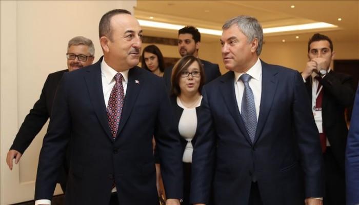 جاويش أوغلو يبحث مع رئيس الدوما الروسي العلاقات الثنائية