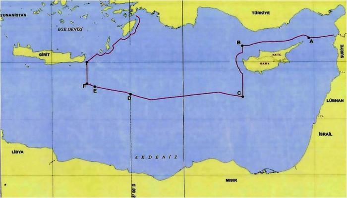 خريطة الحدود المائية لتركيا بعد اتفاق أردوغان-السراج
