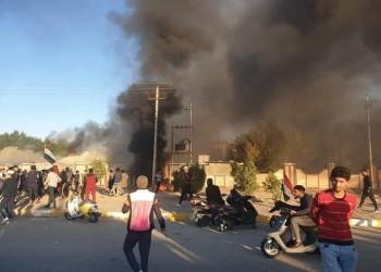 العراق.. متظاهرون يحرقون مقر الحشد الشعبي بذي قار (فيديو)