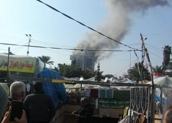 حريق بمطعم تركي يعد حصنا للمتظاهرين ببغداد
