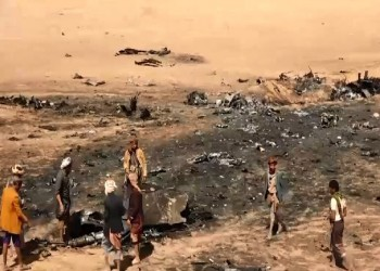 حوثيون ينشرون صورة لطاقم المقاتلة السعودية التي سقطت باليمن