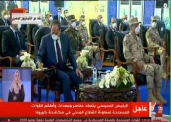 مرتديا كمامة للمرة الأولى.. السيسي يوجه رسالة للشعب المصري