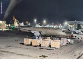 بشعار حكومي.. طائرة إماراتية ثانية تهبط في إسرائيل (فيديو وصور)