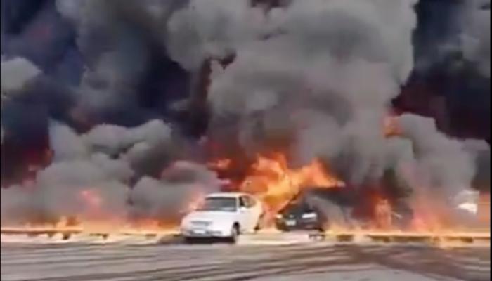 بالفيديو.. اندلاع حريق ضخم إثر انفجار خط مازوت شرق القاهرة