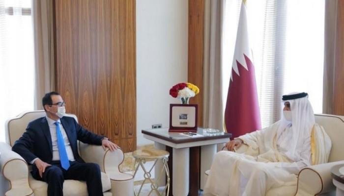 أمير قطر يبحث مع وزير الخزانة الأمريكي تعزيز التعاون الاقتصادي
