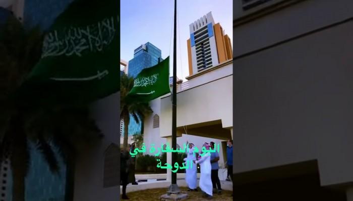 شاهد.. العلمين السعودي والمصري في سماء الدوحة وناشطون يحتفون