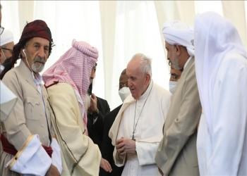 من مهد النبي إبراهيم بالعراق.. بابا الفاتيكان يؤكد براءة الأديان من الإرهاب