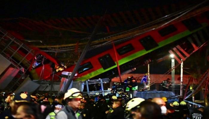 ارتفاع ضحايا حادث سقوط مترو المكسيك إلى 20 قتيلا (فيديو)