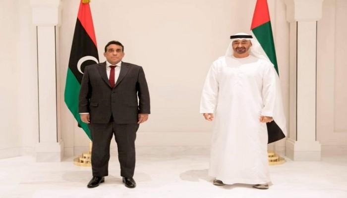 بن زايد يبحث مع المنفي العملية السياسية في ليبيا (صور)