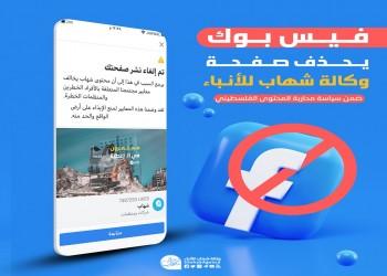 فيسبوك يحذف صفحة وكالة شهاب الإخبارية الفلسطينية