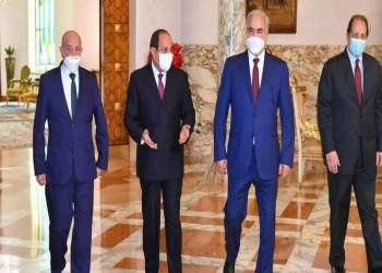 السيسي يستقبل عقيلة صالح وخليفة حفتر بحضور عباس كامل