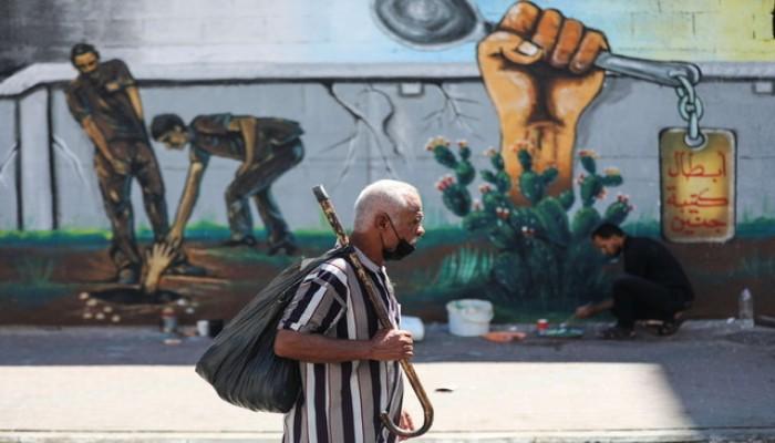 أبطال كتيبة جنين.. جدارية في غزة تحتفي بأسرى جلبوع